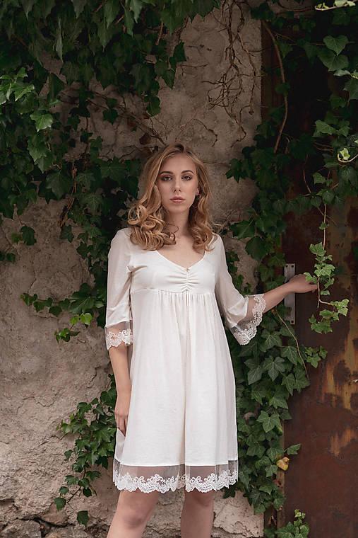 Dámska nočná košeľa s krajkou z organickej bavlny (XL biela)