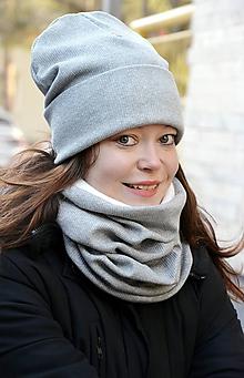 Čiapky - Zimná čiapka + nákrčník strieborná trblietavá - 10254236_