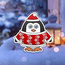 Dekorácie - Vianočná ozdoba tučniačik a hrejivý svetrík abstraktný - 10254048_