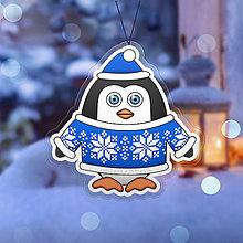 Dekorácie - Vianočná ozdoba tučniačik a hrejivý svetrík snehové vločky - 10254058_