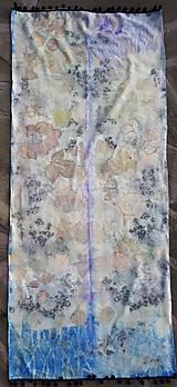 Šály - Premeny-hodvábny ecoprint pléd - 10254713_