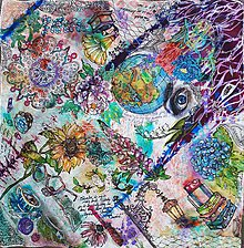Šatky - Koláž  života- hodvábna maľovaná šatka - 10255417_