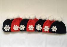 Čiapky - červená čiapka s vločkou - 10255555_