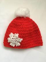 Čiapky - červená čiapka s vločkou - 10255556_