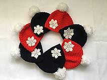 Čiapky - červená čiapka s vločkou - 10255559_