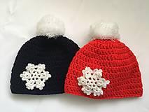 Čiapky - červená čiapka s vločkou - 10255562_
