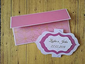 Papiernictvo - 2 v 1 Svadobná obálka na peniaze a blahoželanie - 10254450_