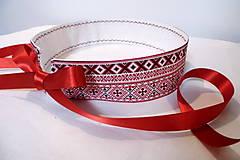 Opasok folklórny červený s krajkou/ čipkou obojstranný
