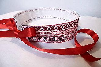 Opasky - Opasok folklórny červený s krajkou/ čipkou obojstranný - 10255076_
