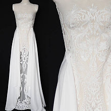 Šaty - Svadobné šaty z dizajnérskej krajky s vlečkou - 10254574_