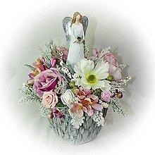 Dekorácie - Dekorace - Andělka v kytičkovém květníčku - 10254463_