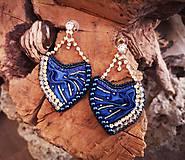 Náušnice - Hodvábne náušnice, kráľovská modrá, štras - 10255036_
