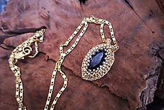 - Náhrdelník  fialový, pozlátená retiazka - 10255060_