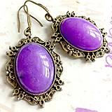 Náušnice - Antique Bronze Violet Jade Earrings / Náušnice s fialovým jadeitom v bronzovom prevedení /1363 - 10255904_