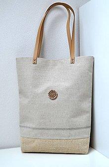 Veľké tašky - Veľká plátená taška s dreveným gombíkom - 10255869_