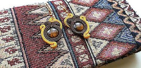 Náušnice - Šujtášové náušnice Vierka - Horčicovo-hnedé soutache earring - 10255769_