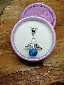 Iné šperky - Anjelik strážny pre šťastie modrý matný achát - 10256626_