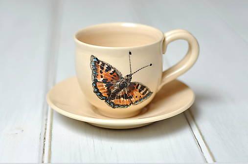 Šálka s podšálkou- motýľ