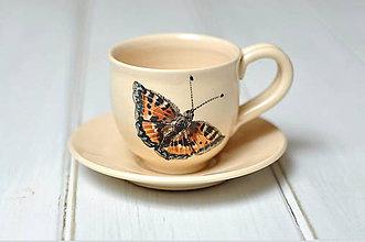 Nádoby - Šálka s podšálkou- motýľ - 10255683_