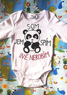 Detské oblečenie - Som panda - jem, spím, iné nerobím :) - 10257245_