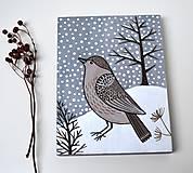 Obrázky - Drevený obrázok-Vtáčik v zime - 10257240_