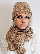 Čiapky - čiapky, nákrčník, rukavice s gombíkmi (komplet set) - 10257163_