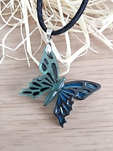 Náhrdelníky - Modro čierny motýľ - 10257487_