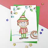 Papiernictvo - Kreslená vianočná pohľadnica žiarivá - 10257235_