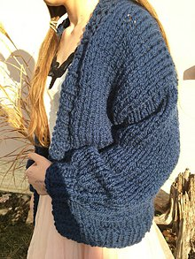 Svetre/Pulóvre - extra hrubý Blue jumper-vlna, alpaka - 10257907_