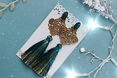 - Trblietavé náušnice so strapcom a čipkou - 10258351_