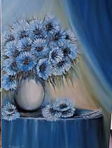 Obrazy - Modré zátišie s pierkom - 10257744_