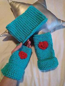 Rukavice - Set tyrkys / srdce na dlani - 10258041_