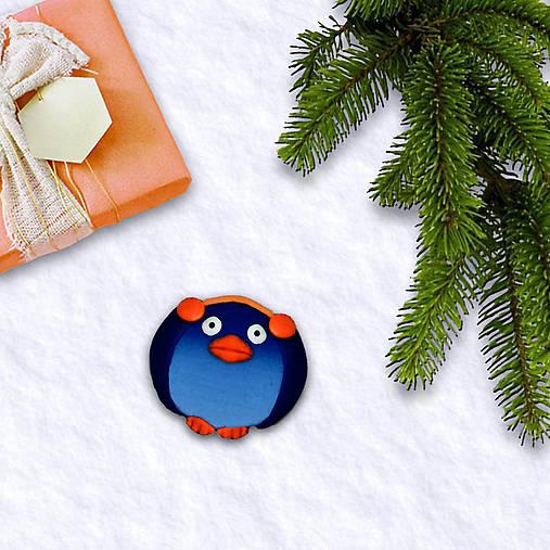 FIMO vianočná magnetka tučniak - chrániče na uši