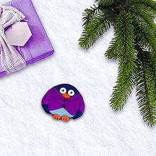 Magnetky - FIMO vianočná magnetka tučniak - košeľa - 10258059_