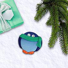 Magnetky - FIMO vianočná magnetka tučniak - šál - 10258061_
