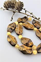 Minerály - tigrie oko a jadeit korálky (cena za 2ks korálok) - 10258762_