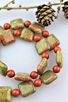 Minerály - unakit + jaspis korálky (cena za 2ks korálok) AKCIA! - 10258485_