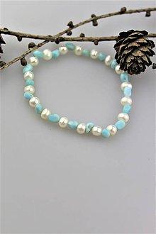 Náramky - larimar a perly náramok - 10258530_