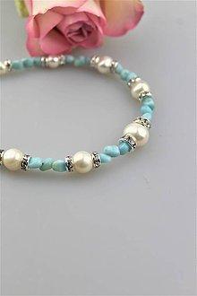 Náhrdelníky - larimar a perly náhrdelník - 10258640_
