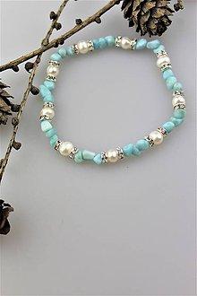 Náramky - pravé perly a larimar náramok - 10258760_