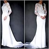 Šaty - Svadobné šaty s dlhým rukávom morská panna - 10258624_