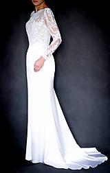 Šaty - Svadobné šaty s dlhým rukávom morská panna - 10258626_