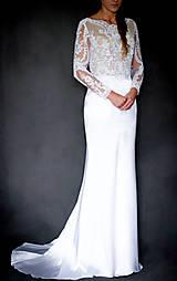 Šaty - Svadobné šaty s dlhým rukávom morská panna - 10258627_