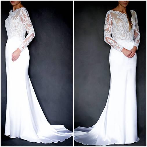 Svadobné šaty s dlhým rukávom morská panna