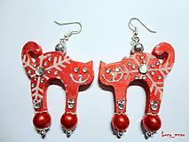Náušnice - Náušničky mačičky-zimne červené:) - 10258747_