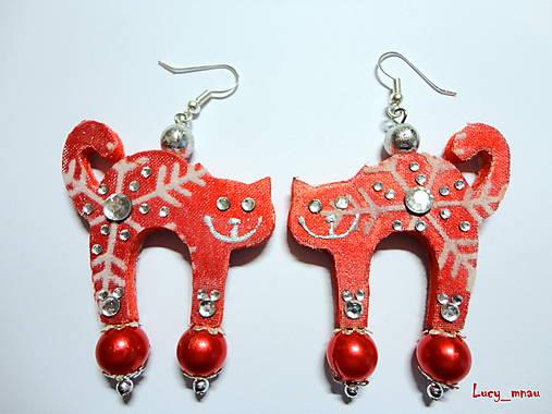 Náušničky mačičky-zimne červené:)