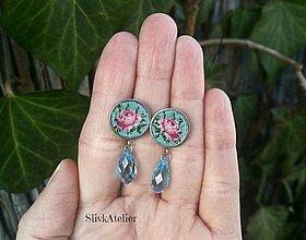 Náušnice - Náušnice ružovej ruže s kryštálmi Swarovski - 10258828_
