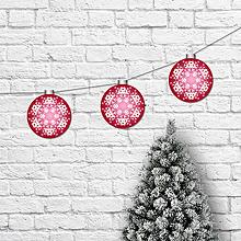 Dekorácie - Girlanda vianočné gule rubínová - 10258446_