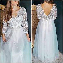 Šaty - Svadobné šaty s tylovou sukňou a rukávom - 10259060_