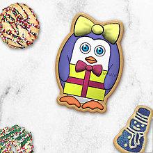 Dekorácie - Tučniačik - ozdoba na koláčik (mašlička + vianočný darček) - 10258933_